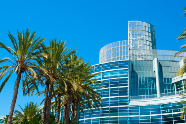 Anaheim Convention Center and Palm Trees.